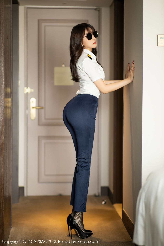 [XiaoYu] Vol.246 Zhi Zhi Booty 4P, Black Silk, Chen Zhi, Stewardess, Underwear, XiaoYu