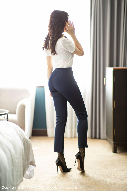 [XiaoYu] Vol.246 Zhi Zhi Booty 7P, Black Silk, Chen Zhi, Stewardess, Underwear, XiaoYu