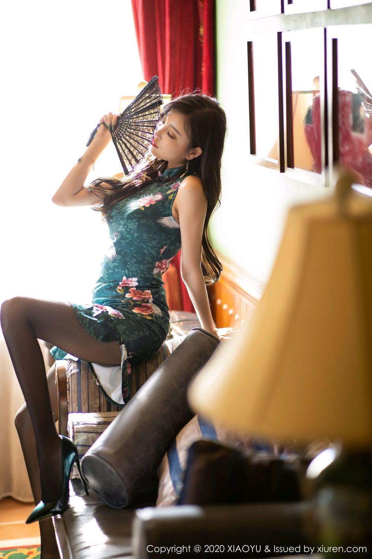 [XiaoYu] Vol.247 Yang Chen Chen 1P, Black Silk, Cheongsam, XiaoYu, Yang Chen Chen