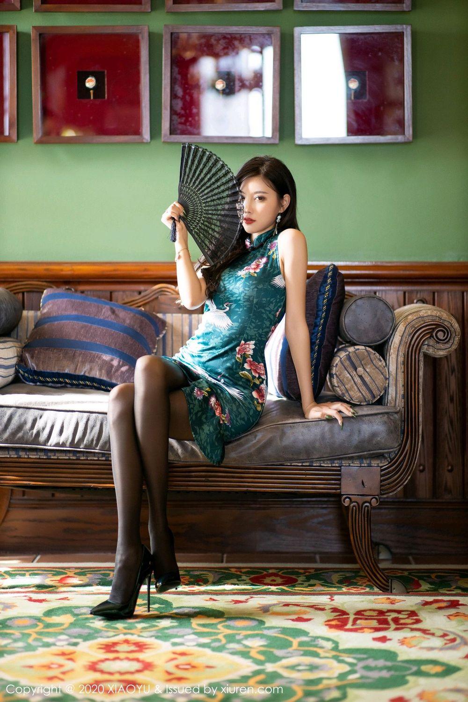 [XiaoYu] Vol.247 Yang Chen Chen 22P, Black Silk, Cheongsam, XiaoYu, Yang Chen Chen