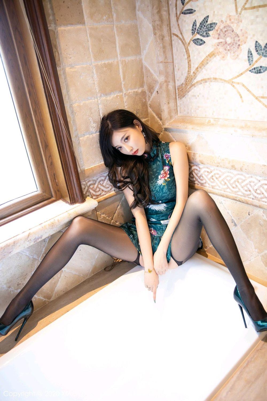 [XiaoYu] Vol.247 Yang Chen Chen 43P, Black Silk, Cheongsam, XiaoYu, Yang Chen Chen