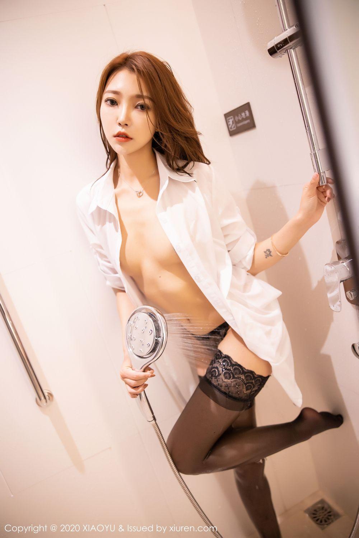 [XiaoYu] Vol.249 Feng Mu Mu 50P, Black Silk, Feng Mu Mu, Wet, XiaoYu