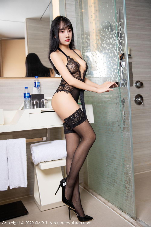[XiaoYu] Vol.274 He Jia Ying 50P, Black Silk, He Jia Ying, Underwear, XiaoYu
