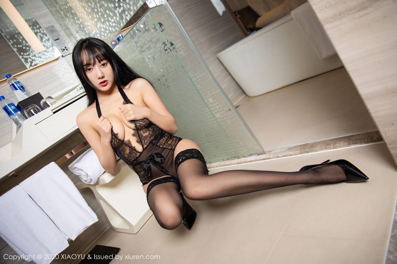[XiaoYu] Vol.274 He Jia Ying 56P, Black Silk, He Jia Ying, Underwear, XiaoYu