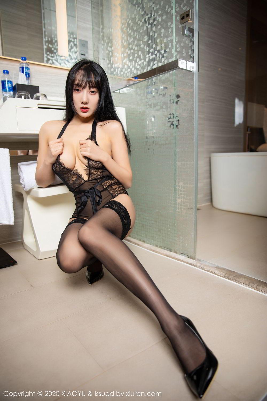[XiaoYu] Vol.274 He Jia Ying 57P, Black Silk, He Jia Ying, Underwear, XiaoYu