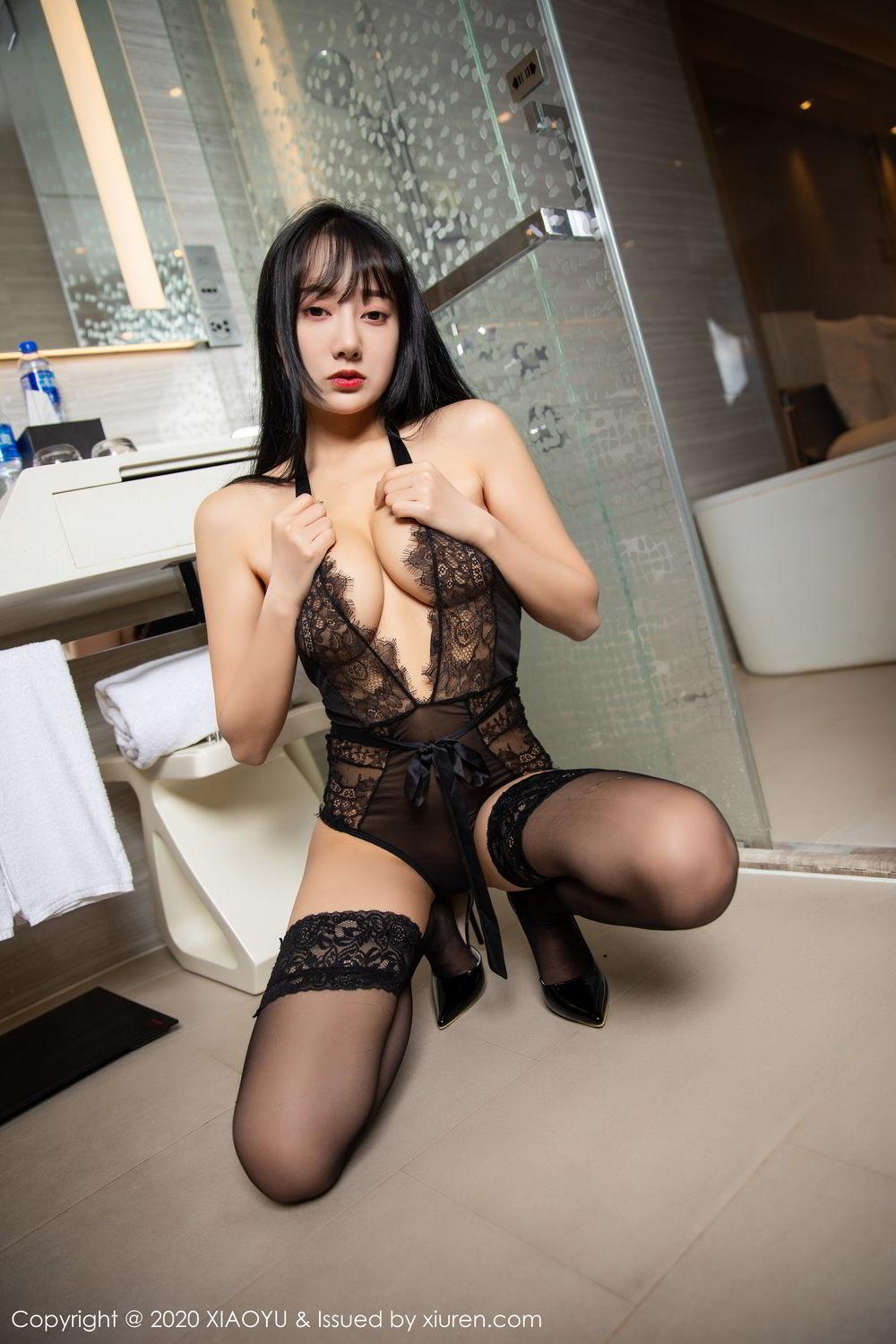 [XiaoYu] Vol.274 He Jia Ying 61P, Black Silk, He Jia Ying, Underwear, XiaoYu