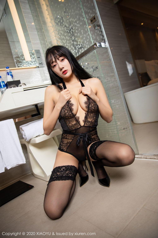 [XiaoYu] Vol.274 He Jia Ying 62P, Black Silk, He Jia Ying, Underwear, XiaoYu
