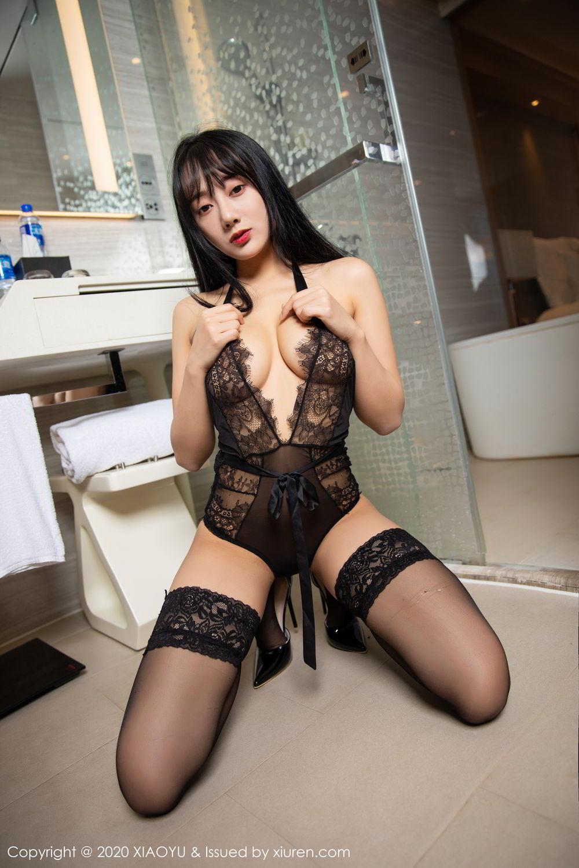 [XiaoYu] Vol.274 He Jia Ying 63P, Black Silk, He Jia Ying, Underwear, XiaoYu