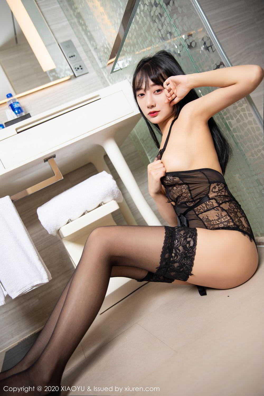 [XiaoYu] Vol.274 He Jia Ying 76P, Black Silk, He Jia Ying, Underwear, XiaoYu