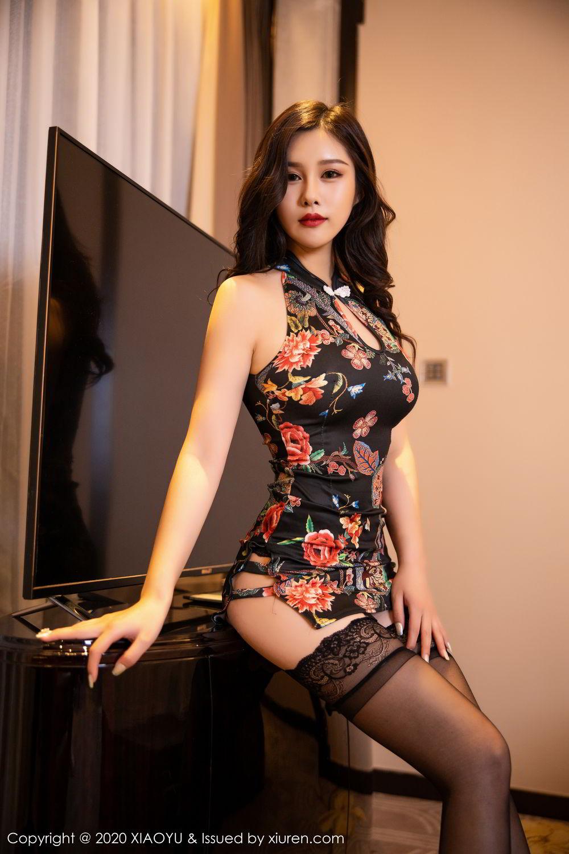 [XiaoYu] Vol.299 Zhou Si Qiao 5P, Adult, Black Silk, Cheongsam, XiaoYu, Zhou Si Qiao