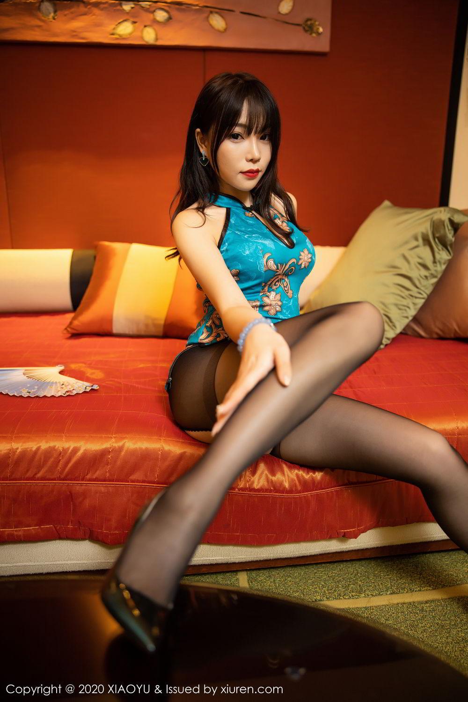 [XiaoYu] Vol.306 Zhi Zhi Booty 16P, Big Booty, Black Silk, Chen Zhi, Cheongsam, Underwear, XiaoYu