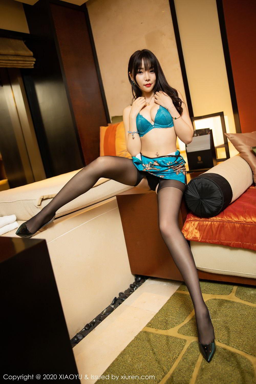 [XiaoYu] Vol.306 Zhi Zhi Booty 31P, Big Booty, Black Silk, Chen Zhi, Cheongsam, Underwear, XiaoYu