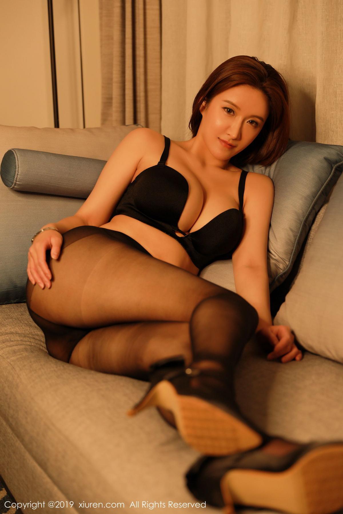 [XiuRen] Vol.1500 Jennanni Jen 16P, Black Silk, Jennanni Jen, Tall, Underwear, Xiuren