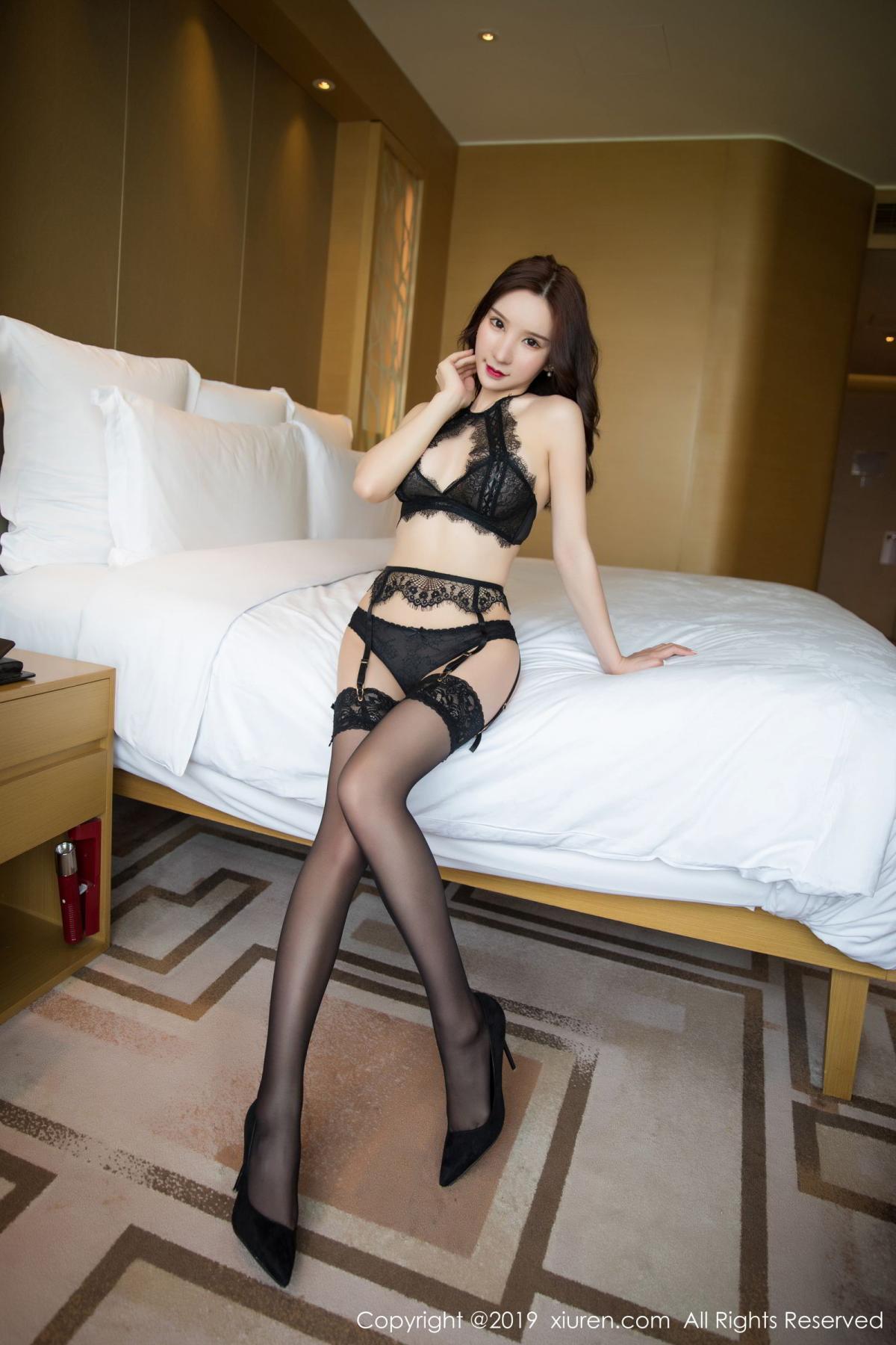 [XiuRen] Vol.1505 Zhou Yu Xi 1P, Black Silk, Tall, Underwear, Xiuren, Zhou Yu Xi