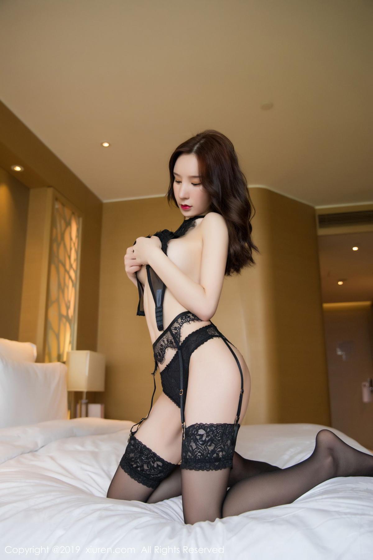 [XiuRen] Vol.1505 Zhou Yu Xi 52P, Black Silk, Tall, Underwear, Xiuren, Zhou Yu Xi