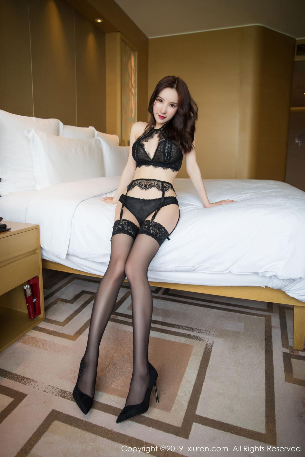 [XiuRen] Vol.1505 Zhou Yu Xi 6P, Black Silk, Tall, Underwear, Xiuren, Zhou Yu Xi