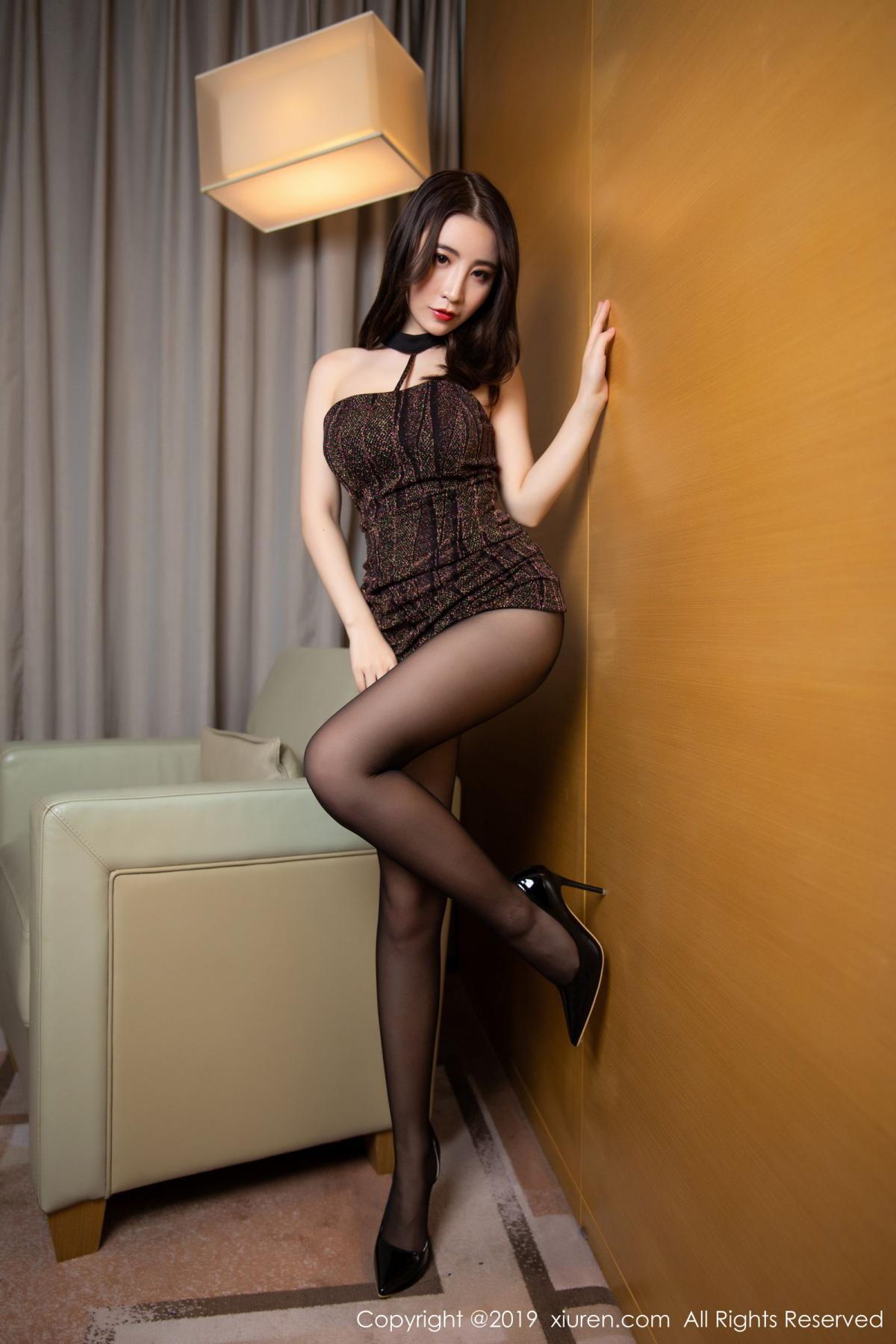[XiuRen] Vol.1509 Xie Zhi Xin 16P, Black Silk, Tall, Xie Zhi Xin, Xiuren
