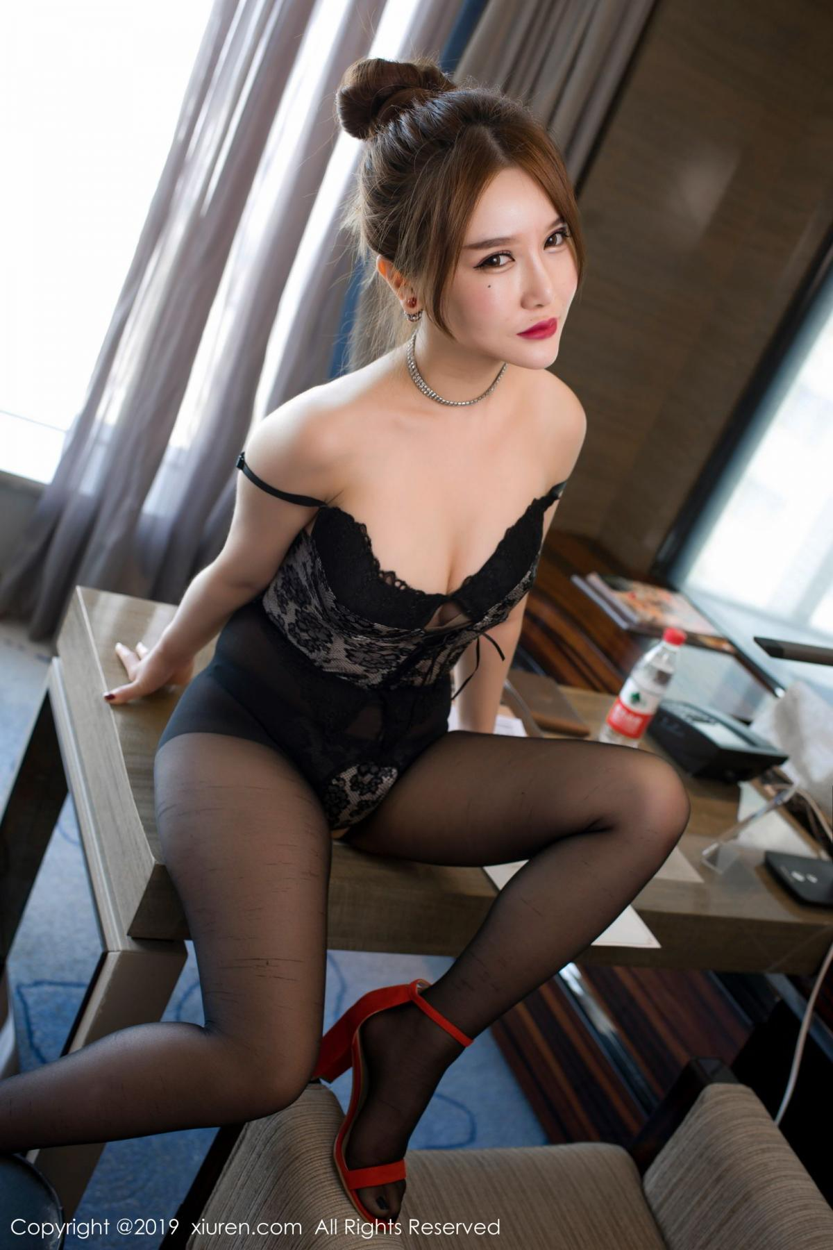 [XiuRen] Vol.1517 Qu You Xi 34P, Black Silk, Qu You Xi, Underwear, Xiuren