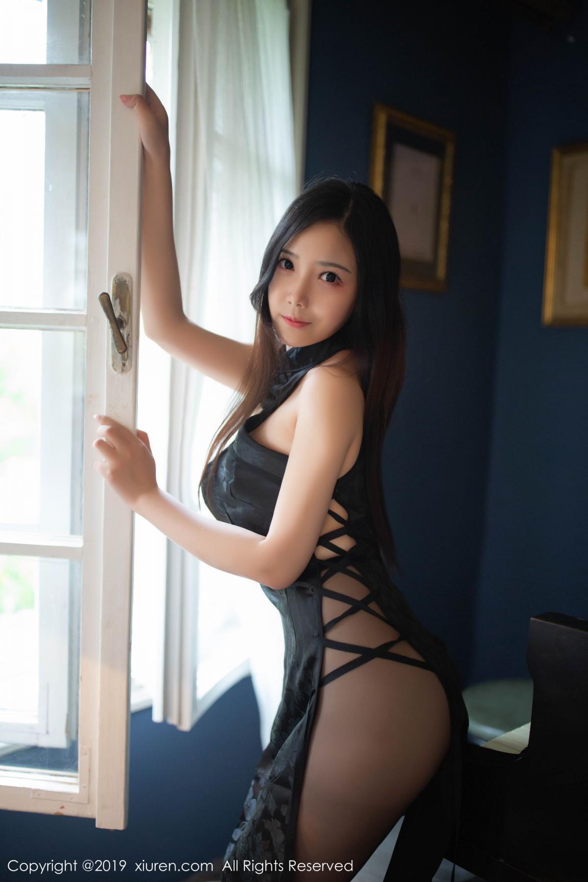 [XiuRen] Vol.1518 Xu Wei Wei 23P, Black Silk, Cheongsam, Pure, Xiuren, Xu Wei Wei