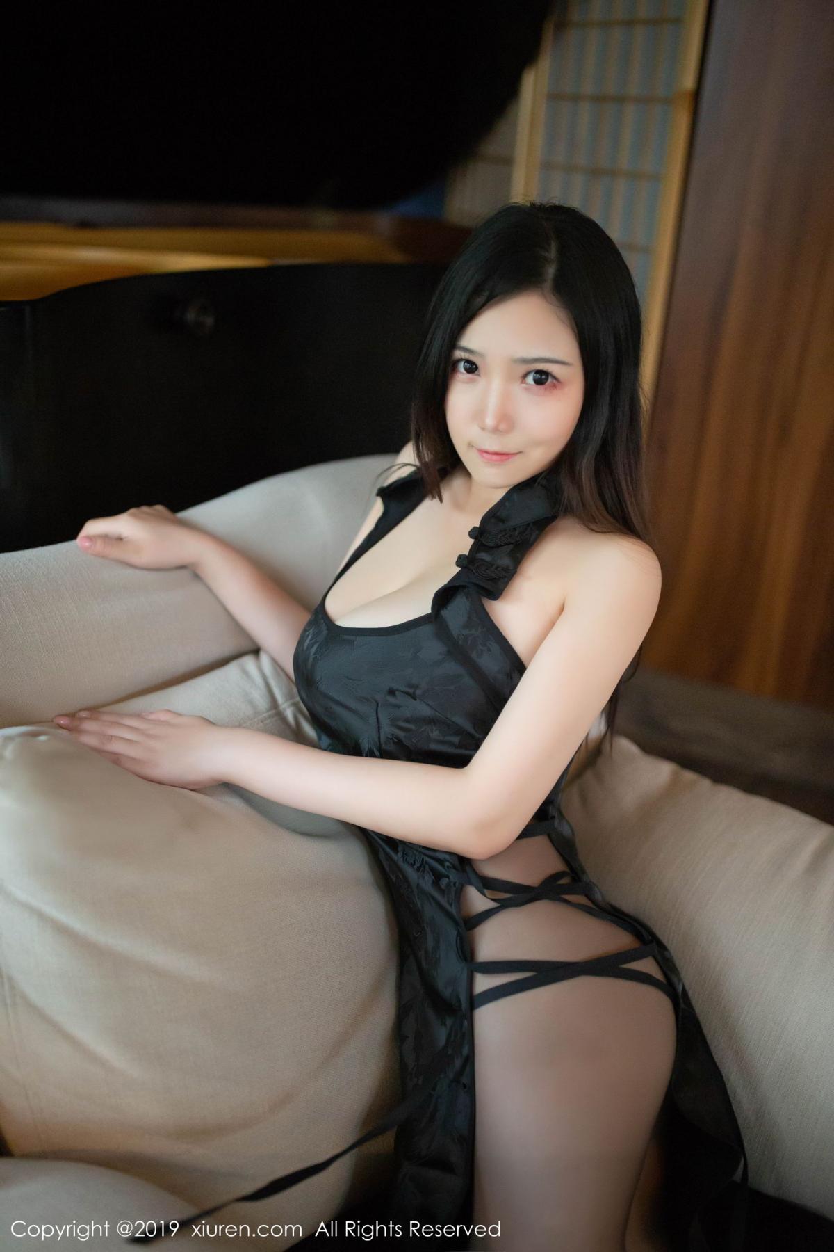[XiuRen] Vol.1518 Xu Wei Wei 28P, Black Silk, Cheongsam, Pure, Xiuren, Xu Wei Wei