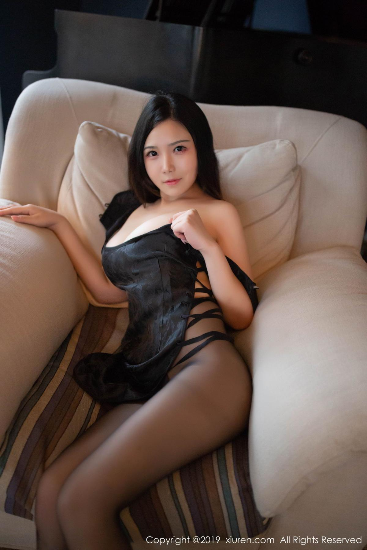 [XiuRen] Vol.1518 Xu Wei Wei 30P, Black Silk, Cheongsam, Pure, Xiuren, Xu Wei Wei