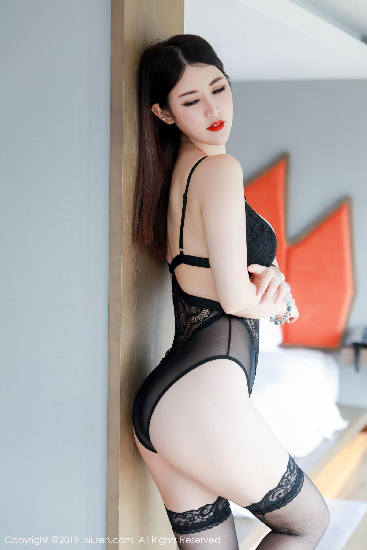 [XiuRen] Vol.1527 Chen Shi Shi 16P, Black Silk, Chen Shi Shi, Tall, Underwear, Xiuren
