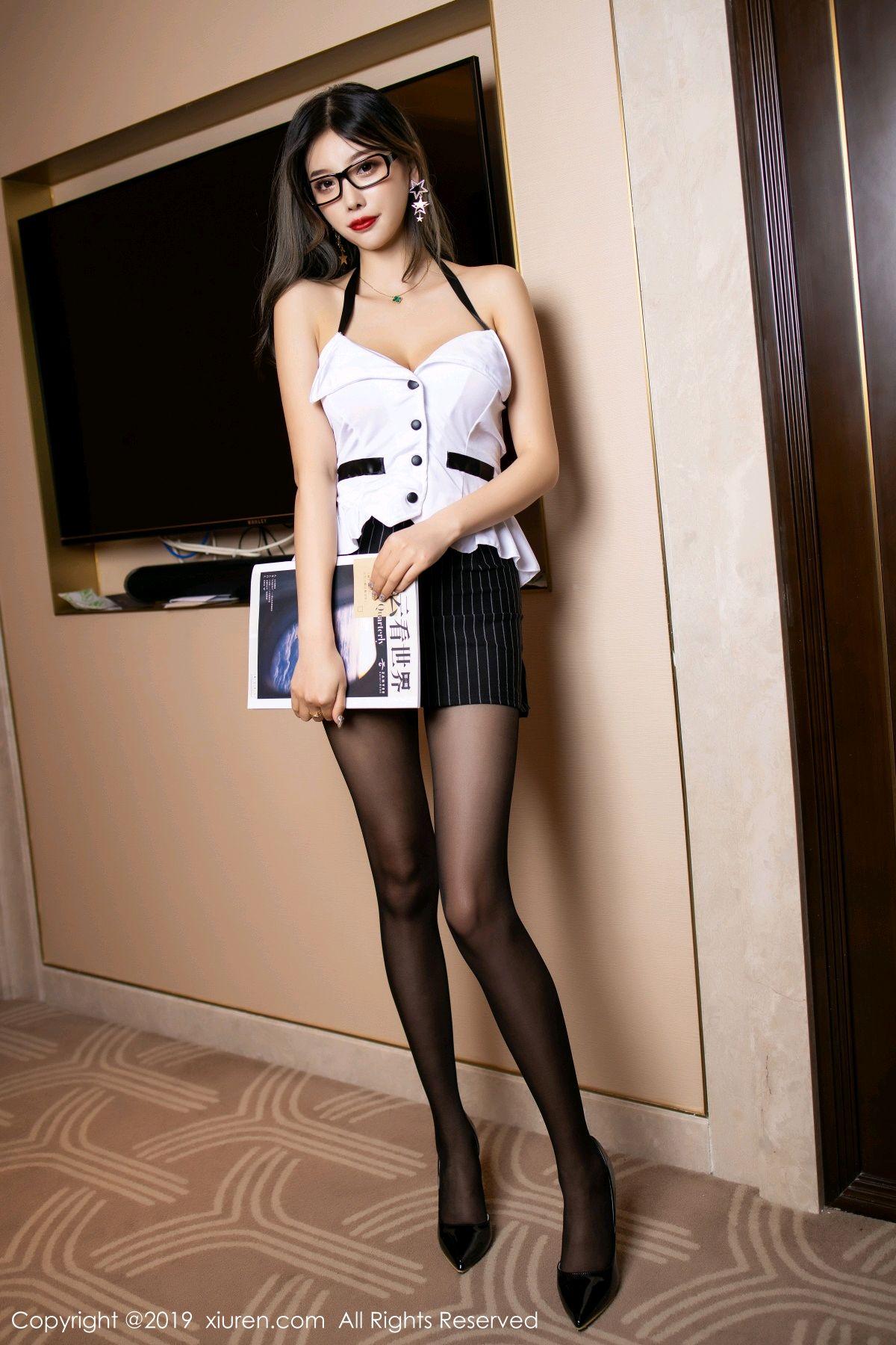 [XiuRen] Vol.1552 Yang Chen Chen 1P, Black Silk, Tall, Uniform, Xiuren, Yang Chen Chen