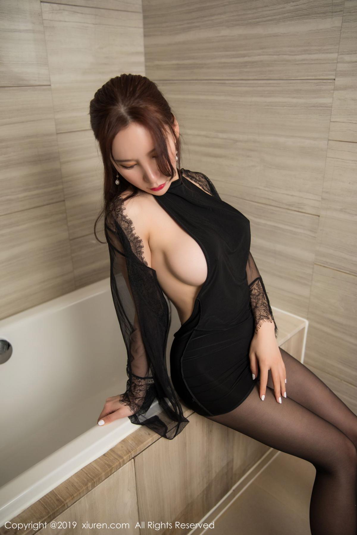 [XiuRen] Vol.1556 Zhou Yu Xi 11P, Bathroom, Black Silk, Tall, Underwear, Xiuren, Zhou Yu Xi