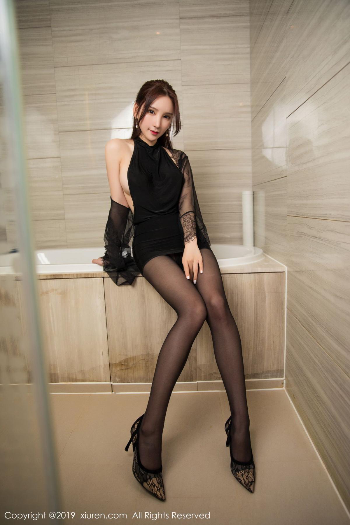 [XiuRen] Vol.1556 Zhou Yu Xi 14P, Bathroom, Black Silk, Tall, Underwear, Xiuren, Zhou Yu Xi