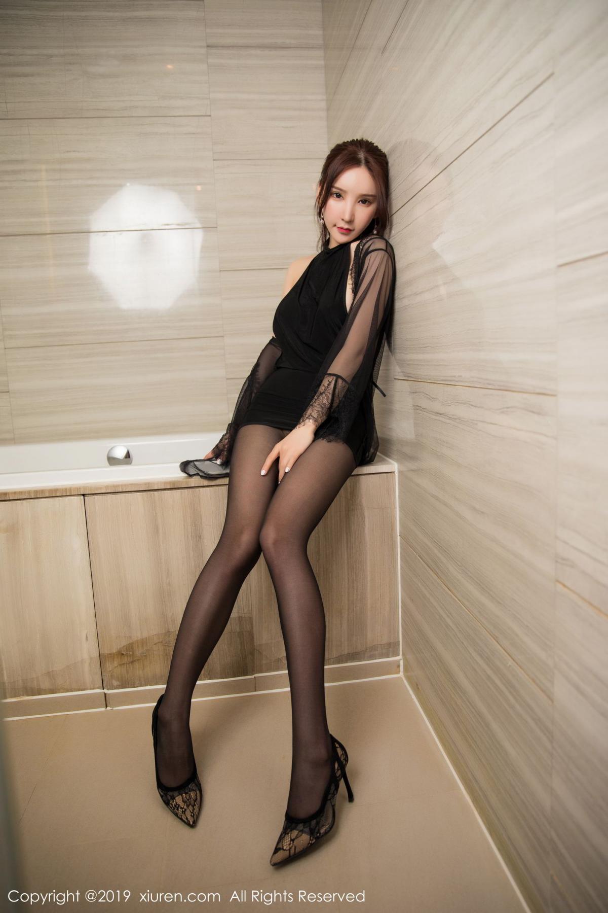 [XiuRen] Vol.1556 Zhou Yu Xi 15P, Bathroom, Black Silk, Tall, Underwear, Xiuren, Zhou Yu Xi