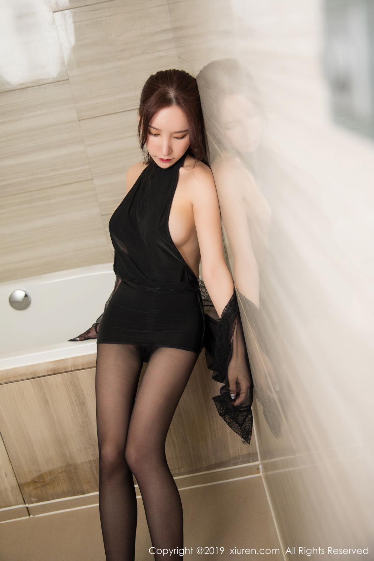 [XiuRen] Vol.1556 Zhou Yu Xi 16P, Bathroom, Black Silk, Tall, Underwear, Xiuren, Zhou Yu Xi