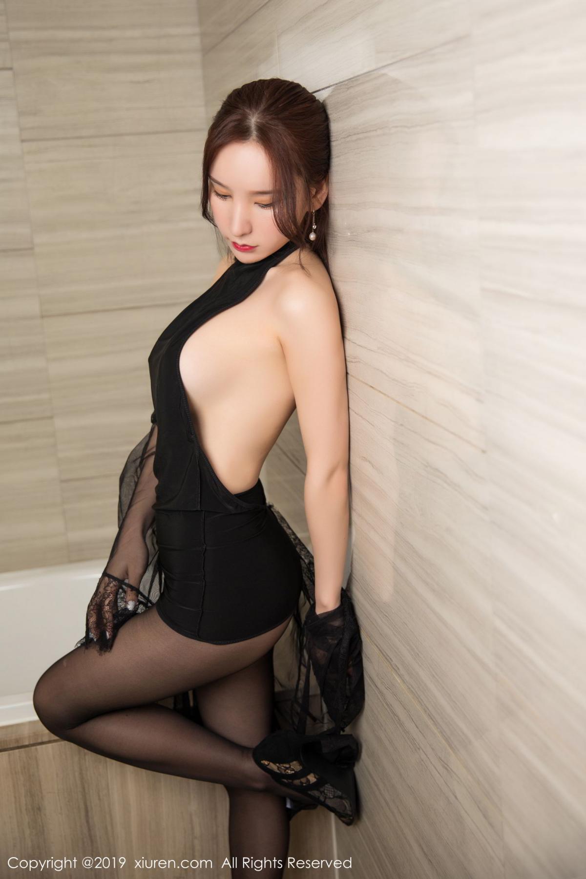 [XiuRen] Vol.1556 Zhou Yu Xi 19P, Bathroom, Black Silk, Tall, Underwear, Xiuren, Zhou Yu Xi