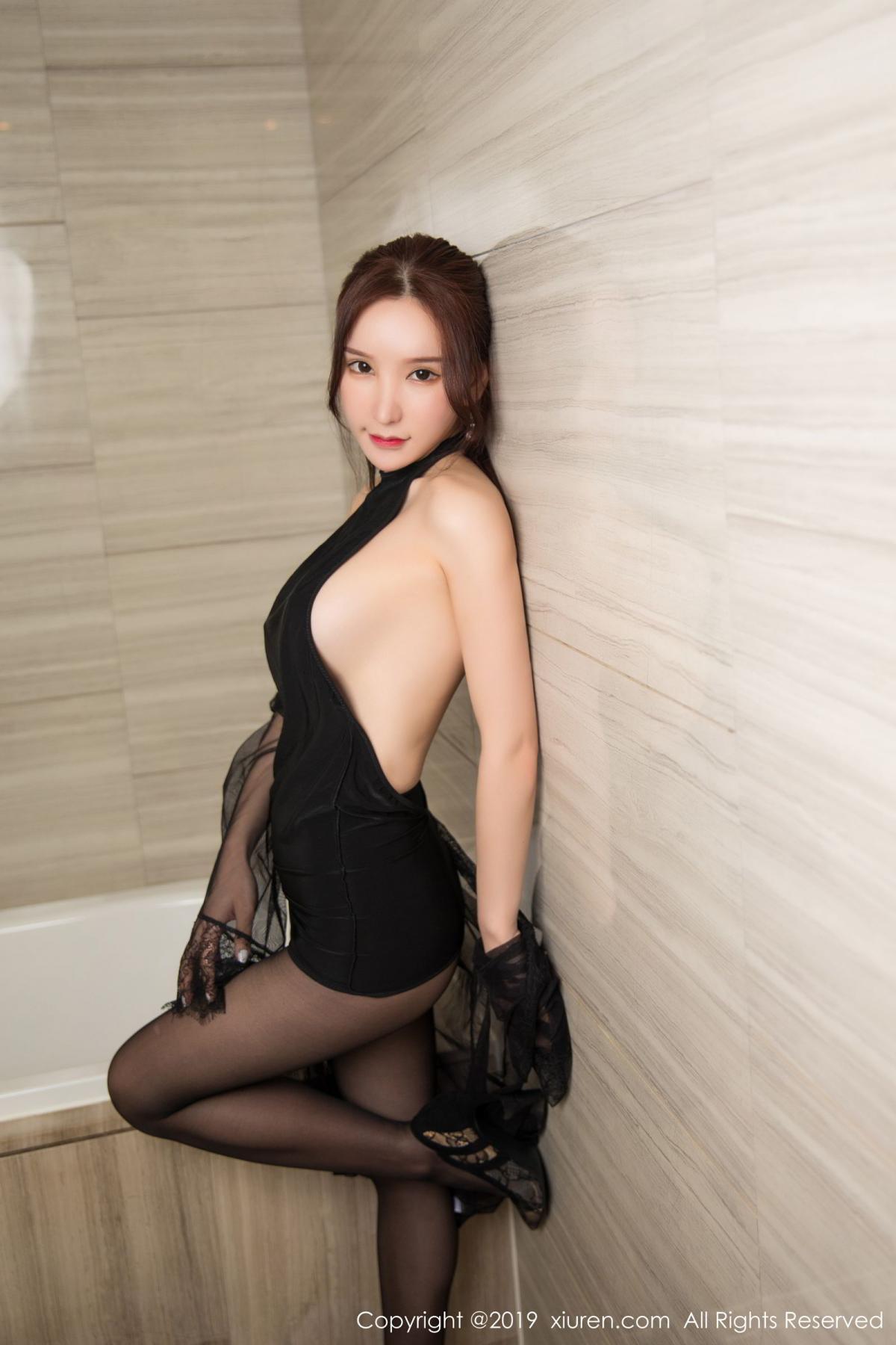 [XiuRen] Vol.1556 Zhou Yu Xi 20P, Bathroom, Black Silk, Tall, Underwear, Xiuren, Zhou Yu Xi