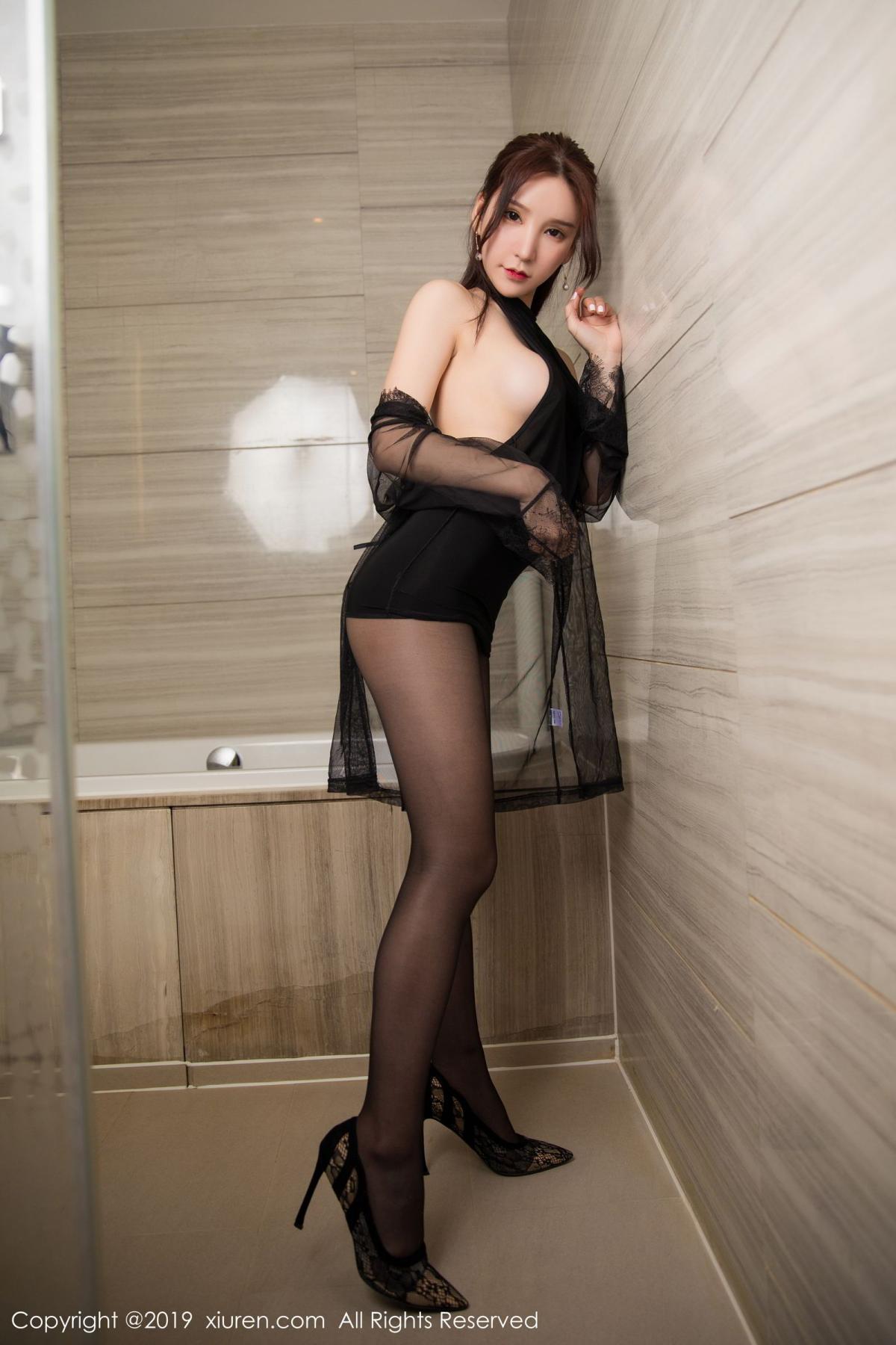 [XiuRen] Vol.1556 Zhou Yu Xi 21P, Bathroom, Black Silk, Tall, Underwear, Xiuren, Zhou Yu Xi