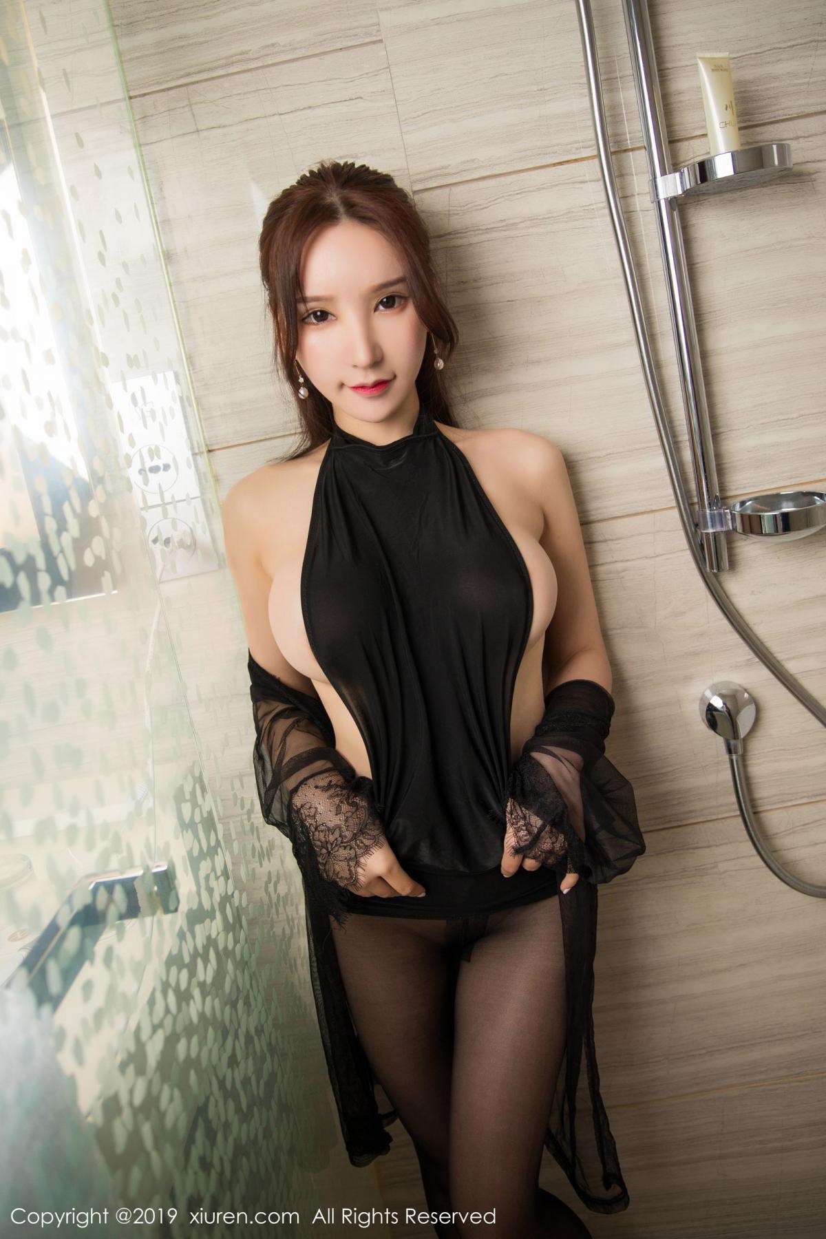 [XiuRen] Vol.1556 Zhou Yu Xi 28P, Bathroom, Black Silk, Tall, Underwear, Xiuren, Zhou Yu Xi