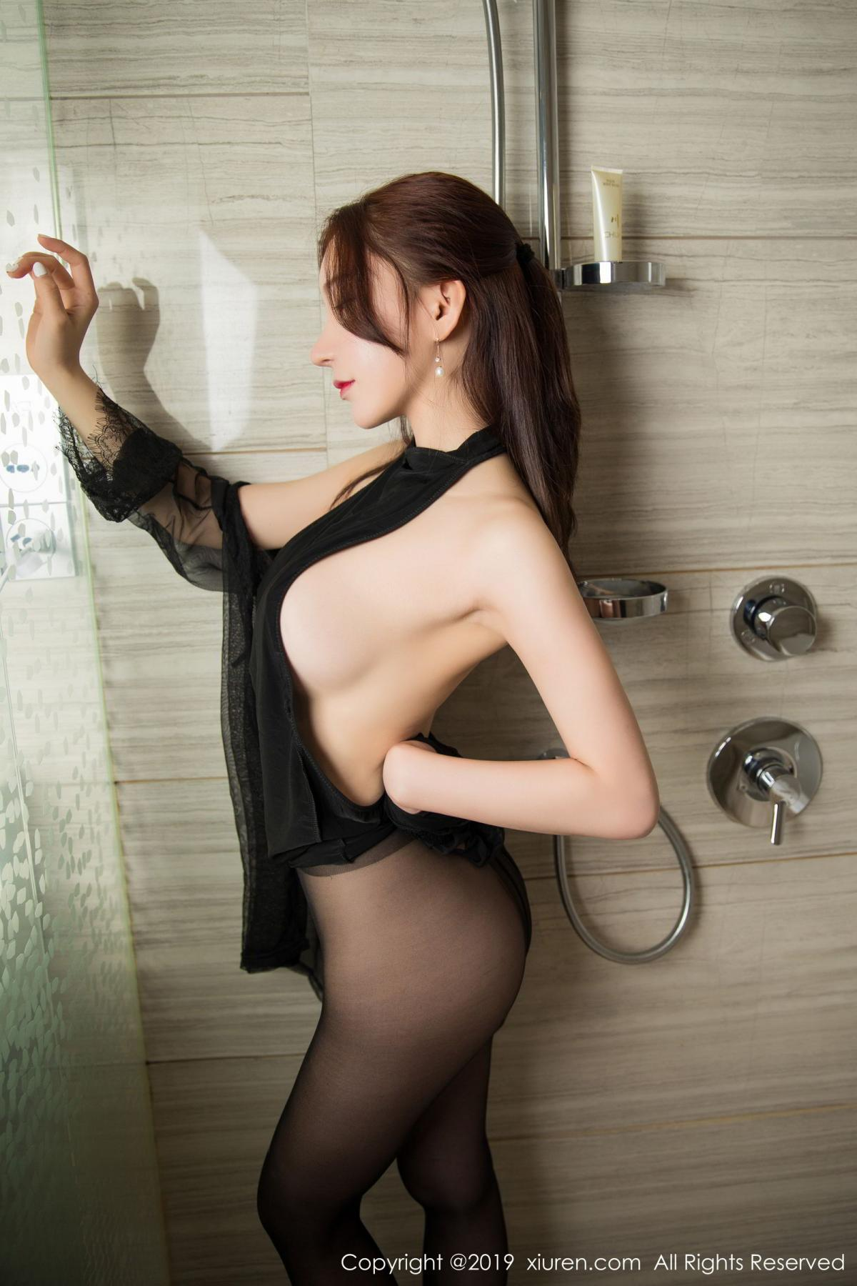 [XiuRen] Vol.1556 Zhou Yu Xi 36P, Bathroom, Black Silk, Tall, Underwear, Xiuren, Zhou Yu Xi