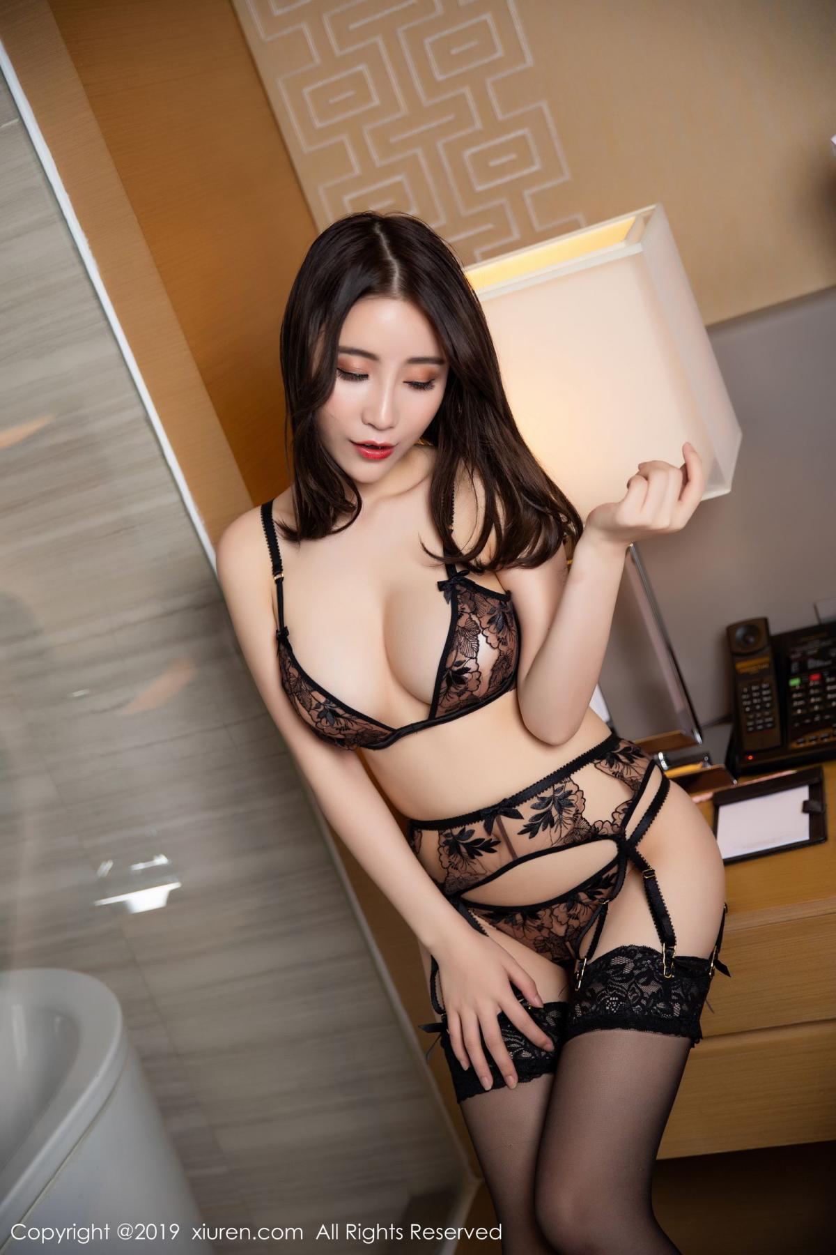 [XiuRen] Vol.1559 Xie Zhi Xin 13P, Black Silk, Tall, Underwear, Xie Zhi Xin, Xiuren