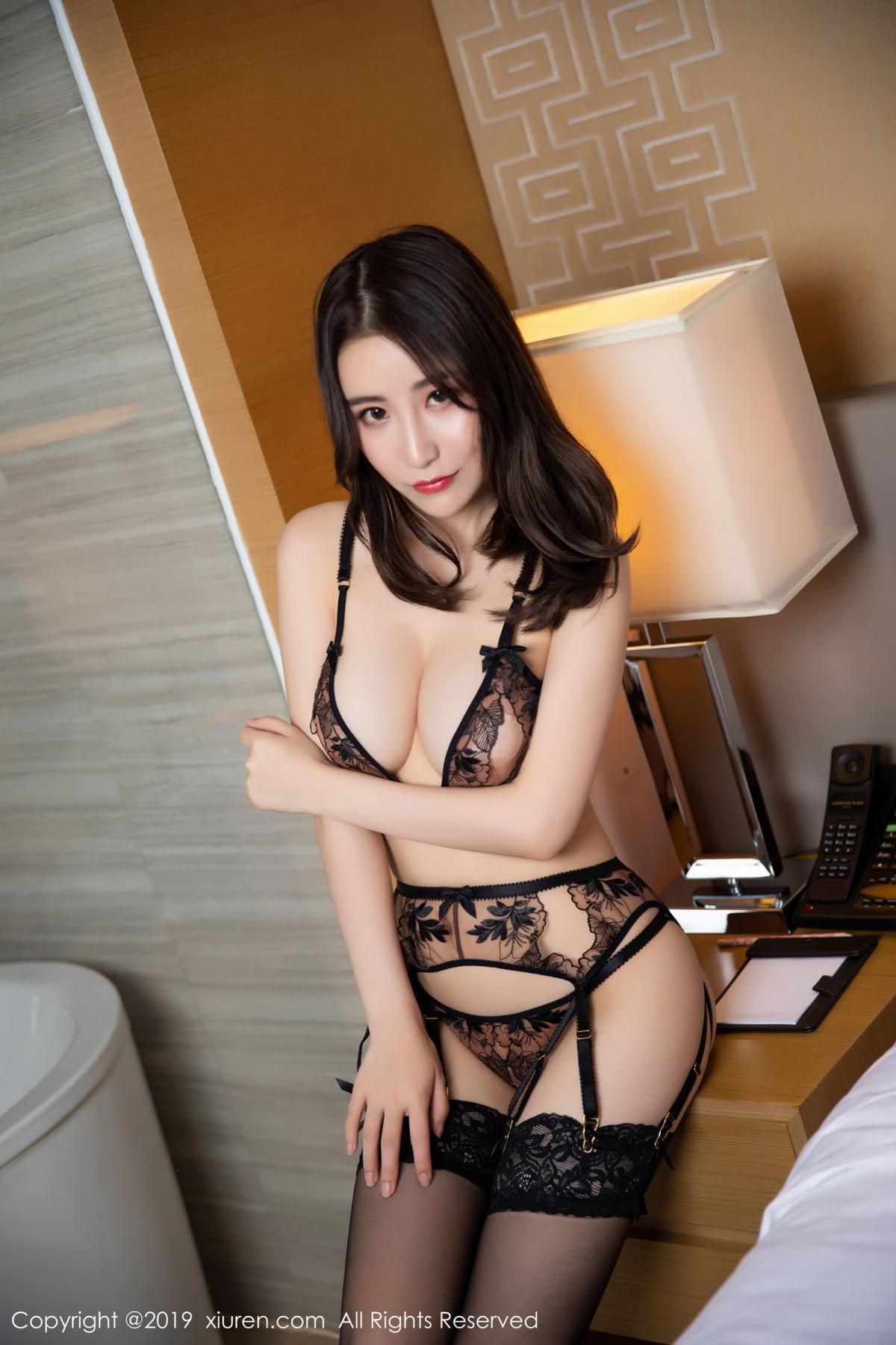 [XiuRen] Vol.1559 Xie Zhi Xin 16P, Black Silk, Tall, Underwear, Xie Zhi Xin, Xiuren