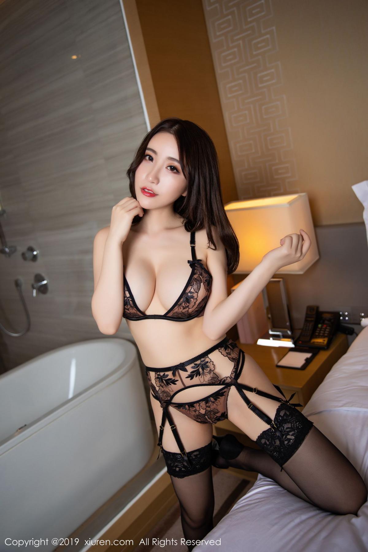 [XiuRen] Vol.1559 Xie Zhi Xin 27P, Black Silk, Tall, Underwear, Xie Zhi Xin, Xiuren