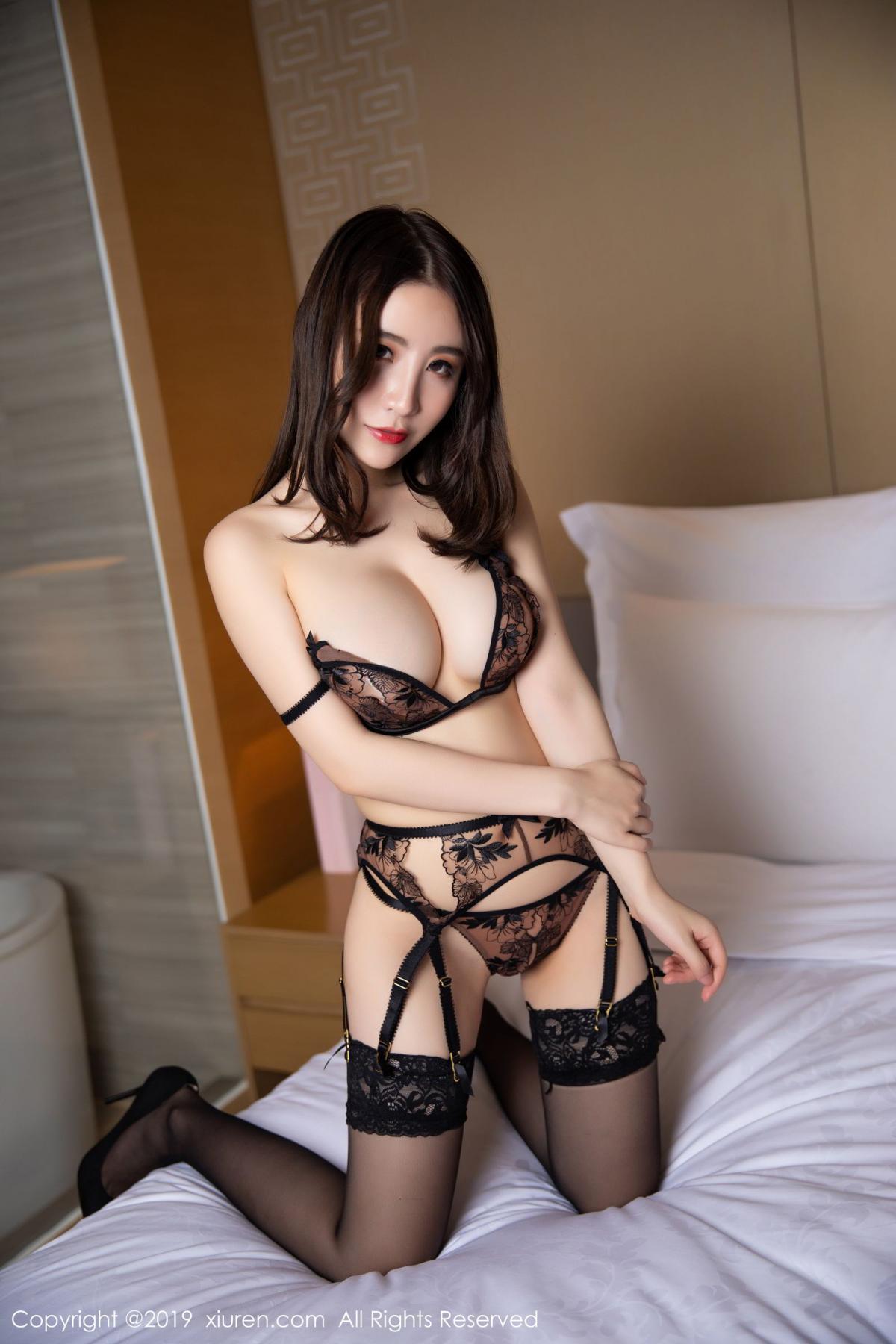 [XiuRen] Vol.1559 Xie Zhi Xin 31P, Black Silk, Tall, Underwear, Xie Zhi Xin, Xiuren