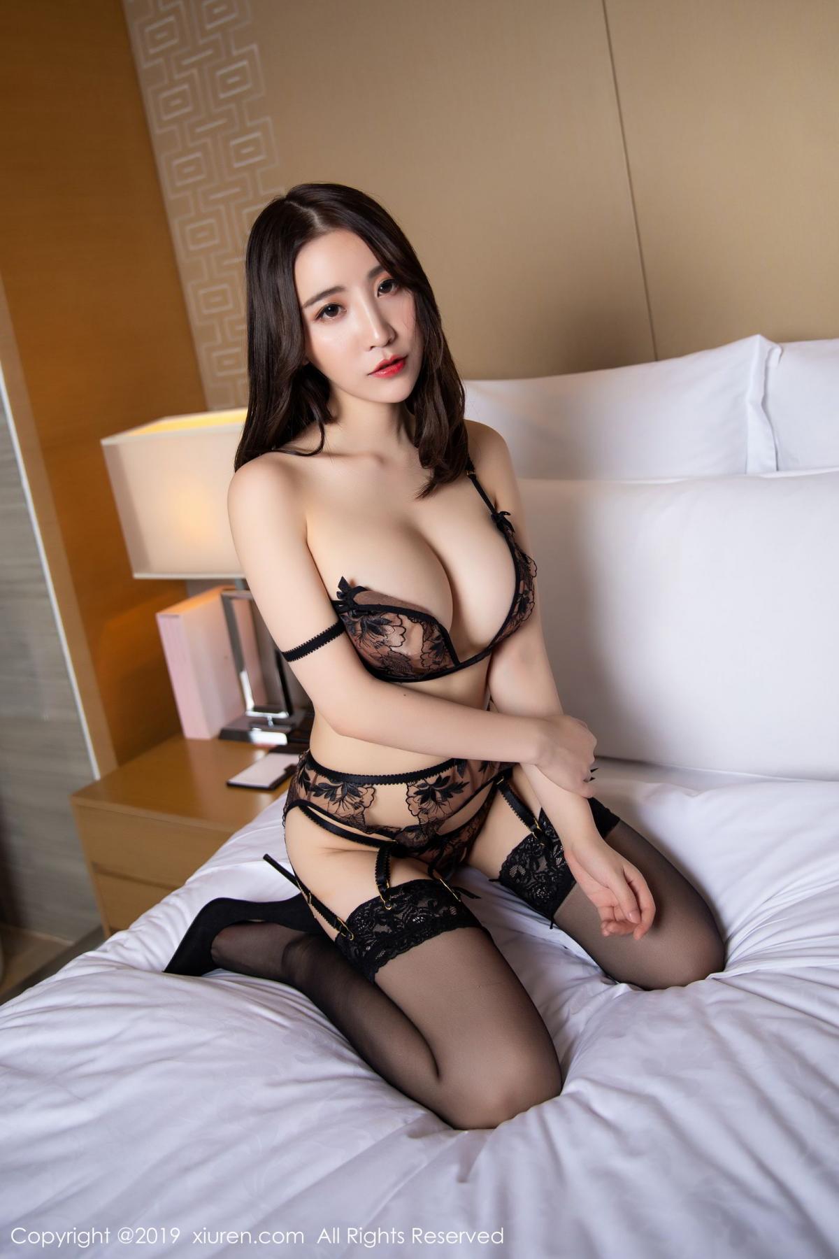 [XiuRen] Vol.1559 Xie Zhi Xin 34P, Black Silk, Tall, Underwear, Xie Zhi Xin, Xiuren