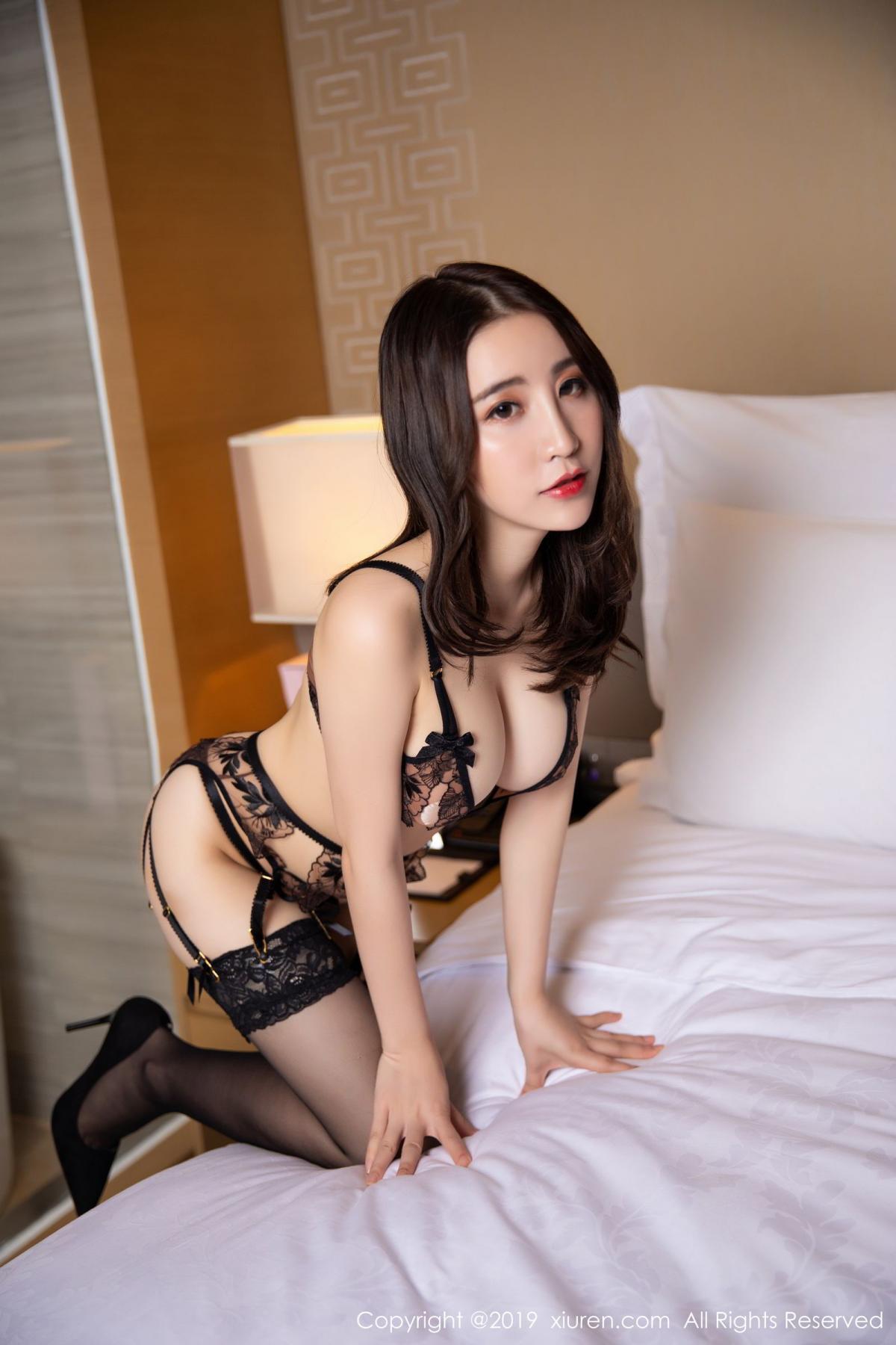 [XiuRen] Vol.1559 Xie Zhi Xin 3P, Black Silk, Tall, Underwear, Xie Zhi Xin, Xiuren