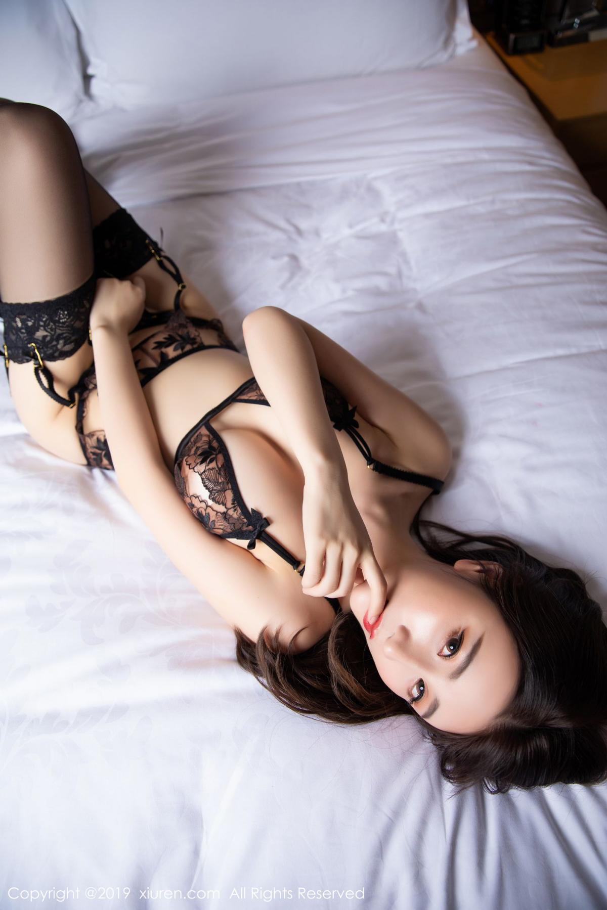 [XiuRen] Vol.1559 Xie Zhi Xin 50P, Black Silk, Tall, Underwear, Xie Zhi Xin, Xiuren