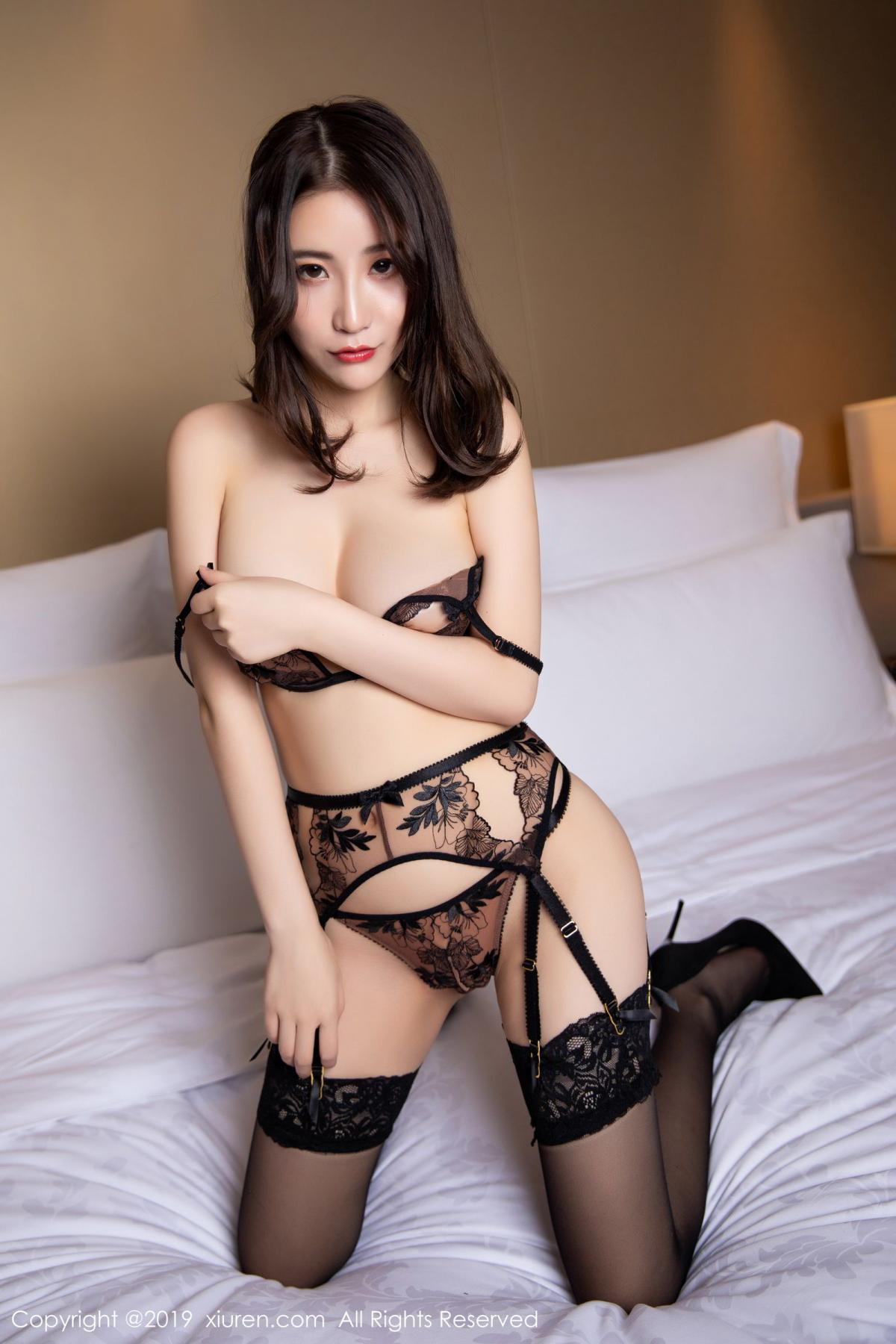 [XiuRen] Vol.1559 Xie Zhi Xin 57P, Black Silk, Tall, Underwear, Xie Zhi Xin, Xiuren