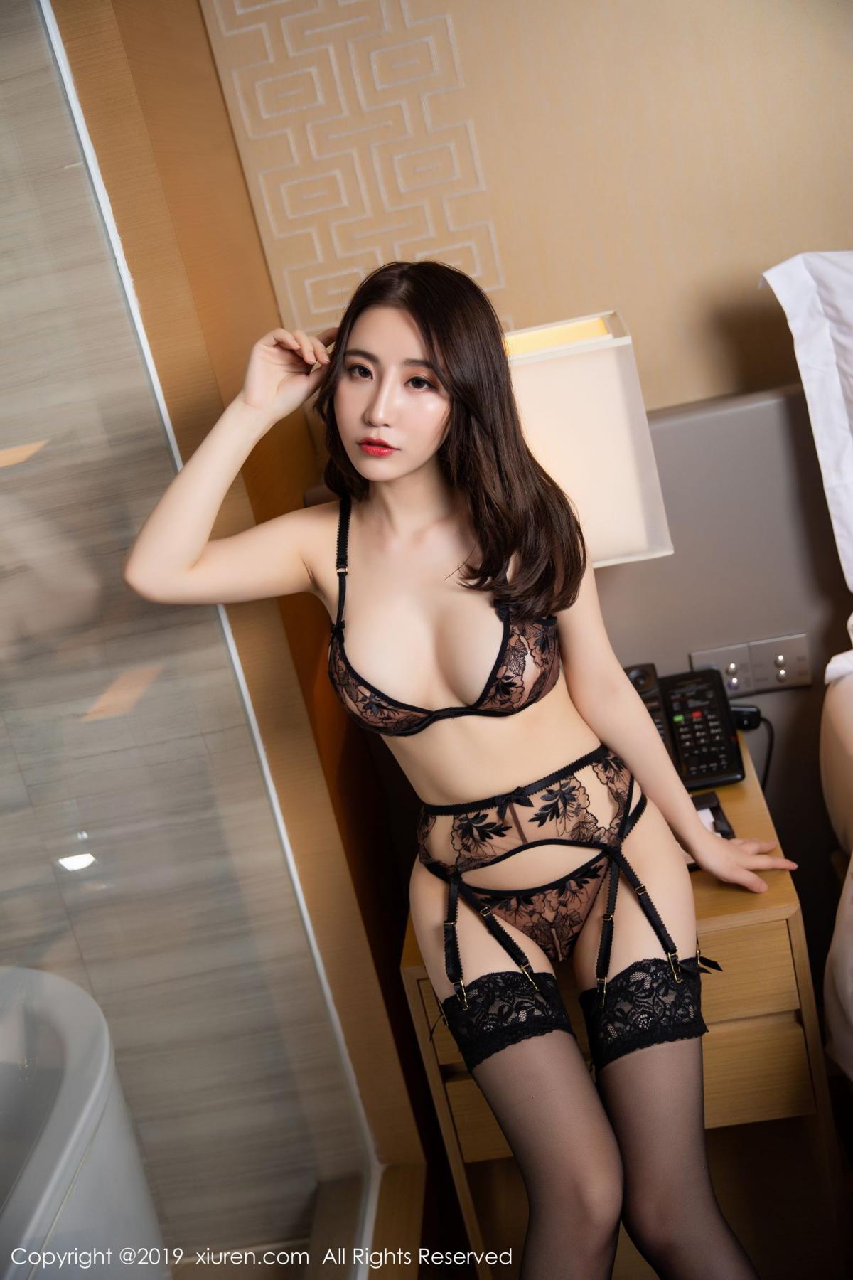 [XiuRen] Vol.1559 Xie Zhi Xin 7P, Black Silk, Tall, Underwear, Xie Zhi Xin, Xiuren