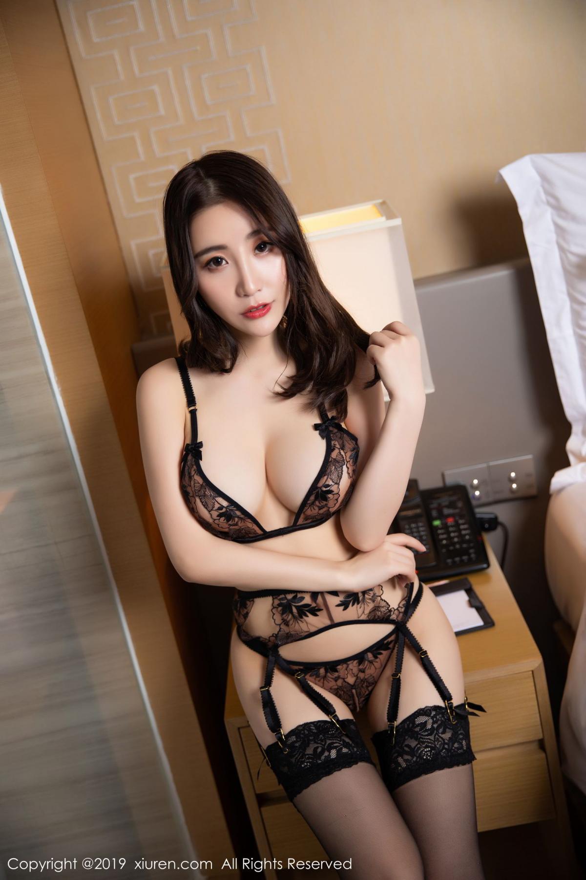 [XiuRen] Vol.1559 Xie Zhi Xin 9P, Black Silk, Tall, Underwear, Xie Zhi Xin, Xiuren