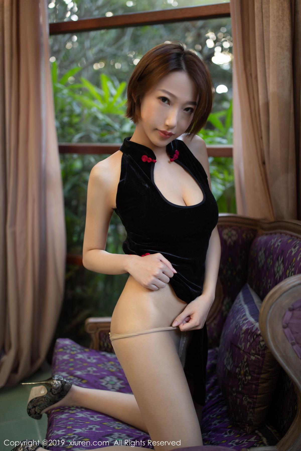 [XiuRen] Vol.1581 Li Zi Riz 48P, Black Silk, Cheongsam, Li Zi Riz, Tall, Xiuren
