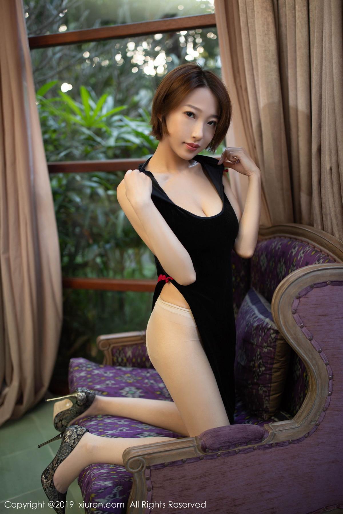[XiuRen] Vol.1581 Li Zi Riz 51P, Black Silk, Cheongsam, Li Zi Riz, Tall, Xiuren