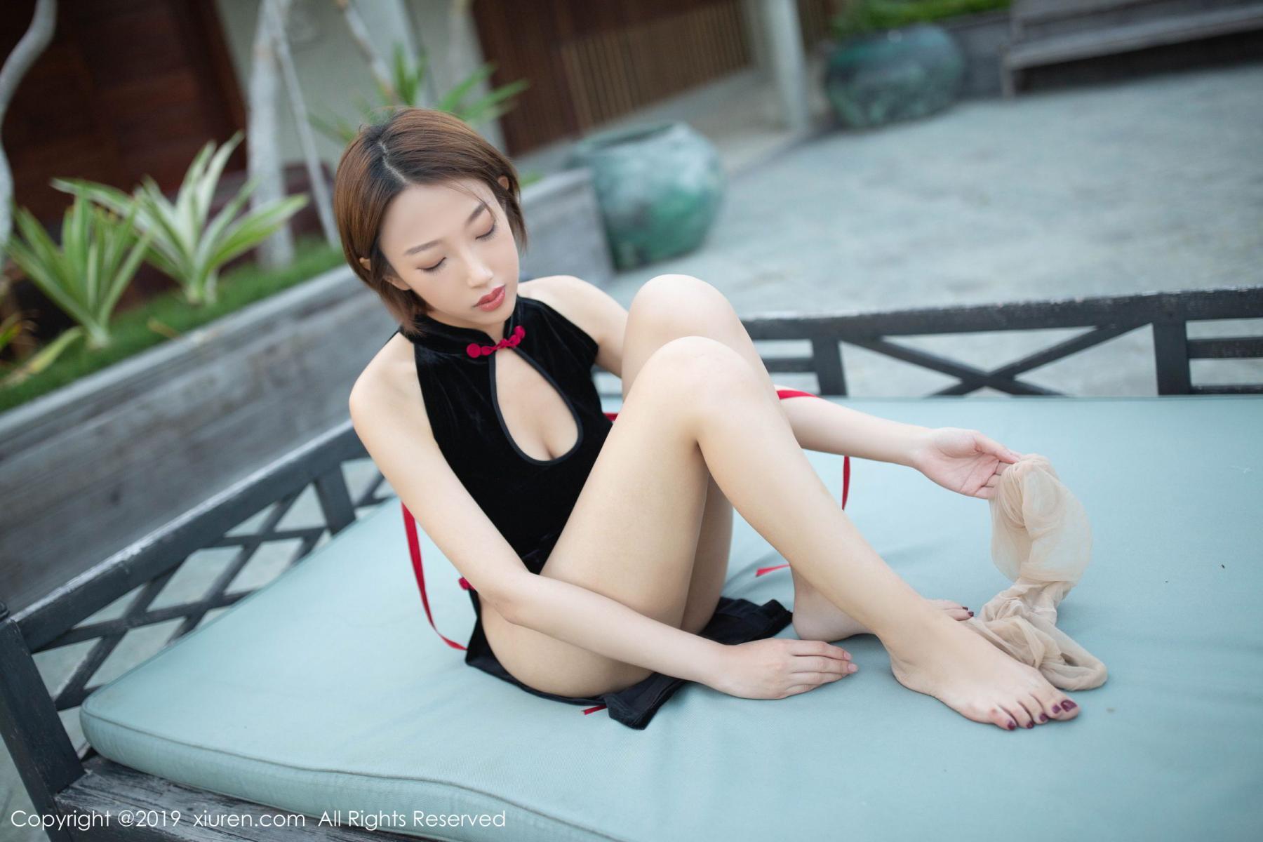 [XiuRen] Vol.1581 Li Zi Riz 61P, Black Silk, Cheongsam, Li Zi Riz, Tall, Xiuren