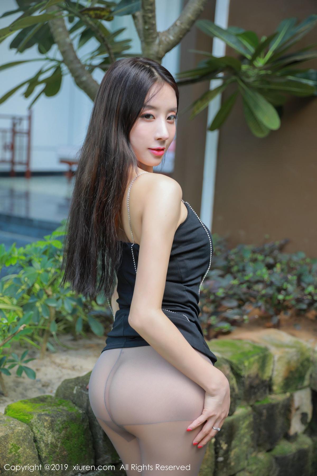 [XiuRen] Vol.1593 Duan Xiao Hui 6P, Black Silk, Duan Xiao Hui, Peach Hip, Xiuren
